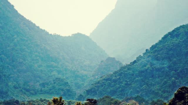 Extreme terrain landscape Phangern mountain range and valley, Vang Vieng, Laos