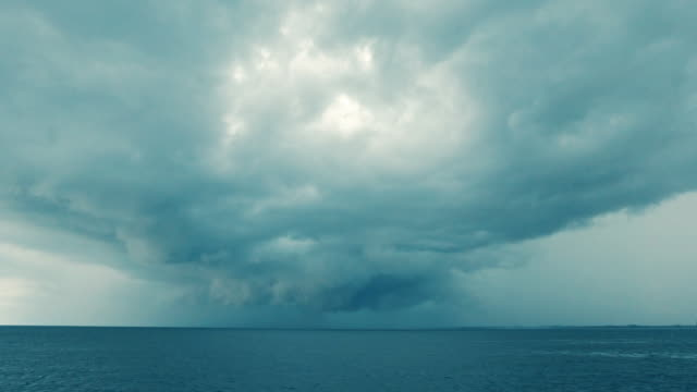 extreme weather hurricane supercell forming at sea - monsone video stock e b–roll