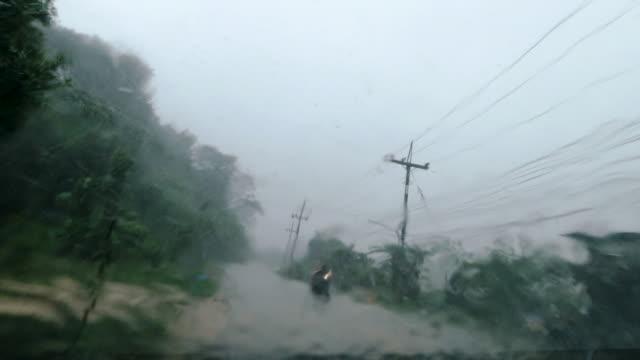 ExtremeWetter Monsun saisonFahrer Sicht Fahren Prozessplatten – Video