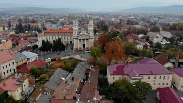extremely beautiful panorama a old city from a aerial view transcarpathia uzhhorod old town ukraine europe - transcarpazia video stock e b–roll