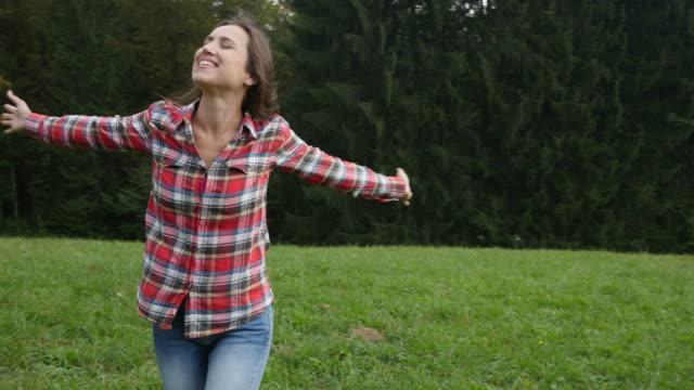 Extremely delighted woman whoТs face lighted up with ecstatic happiness video
