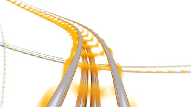 Extrem schnelle Fahrt auf Roller-Coaster auf weißem Hintergrund nahtlos. Looped 3d Animation von abstrakten Achterbahn Kreis Attraktion. Unterhaltungskonzept. – Video