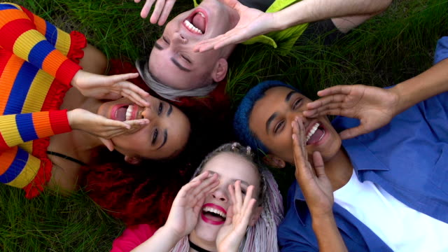Extremely glad multi-ethnic friends gesturing hey you, relaxing on grass, joy