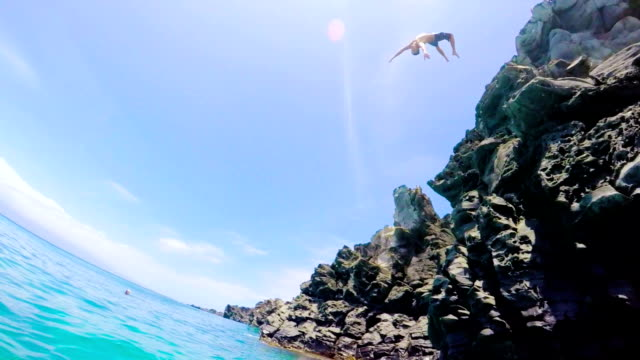 Extremely High POV Back Flip Cliff Jump into Water in Slow Motion video