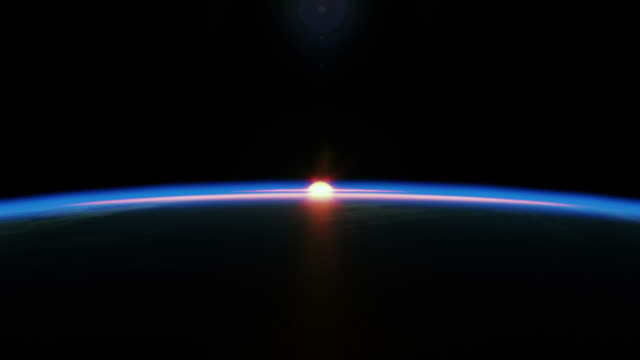 Extremely realistic & detailed sunrise seen from space  sunrise dawn stock videos & royalty-free footage