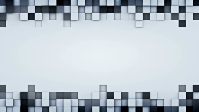 Extruded gray cubes and free space 3D animation loopable video