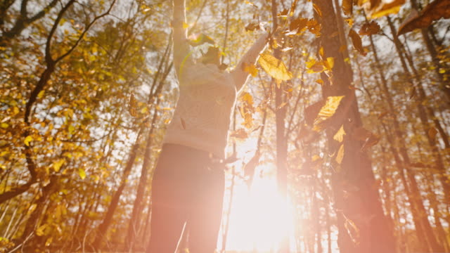 MS SUPER SLOW MOTION exuberant young woman throwing golden autumn leaves overhead in forest
