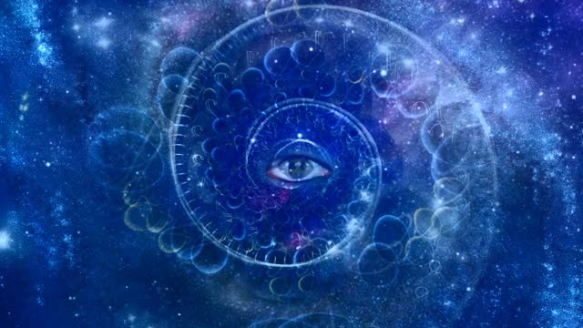 vídeos de stock e filmes b-roll de eye and spiral of time - eternidade