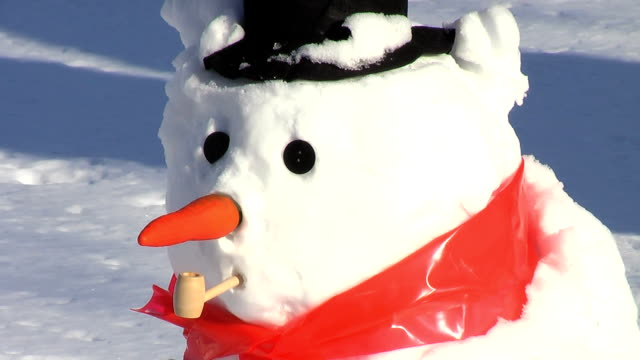 Eye Falls Out (HD) Closeup of a snowman as his eye falls out because of warming weather. snowman stock videos & royalty-free footage