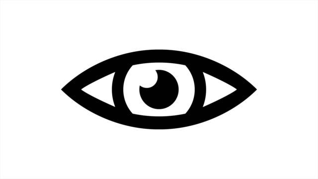 vídeos de stock, filmes e b-roll de animação de ícone de olho com fosco luma opcional. alpha luma matte incluído. vídeo 4k - ilustração e pintura