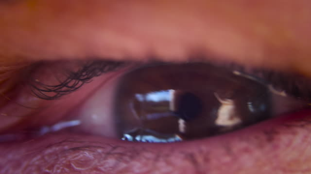 eye in macro close up looking from left to right. brown eye. shot in 4k slow motion - веко стоковые видео и кадры b-roll