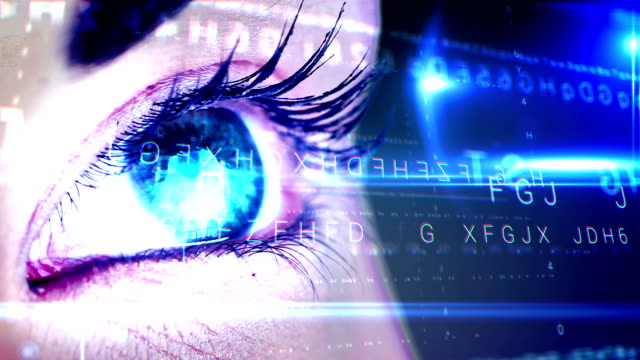 Eye looking at futuristic interface showing letters video