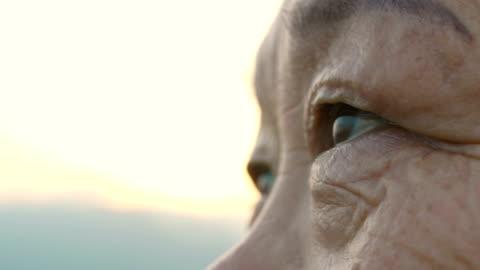 vídeos de stock e filmes b-roll de eye of elderly woman - primeiro plano