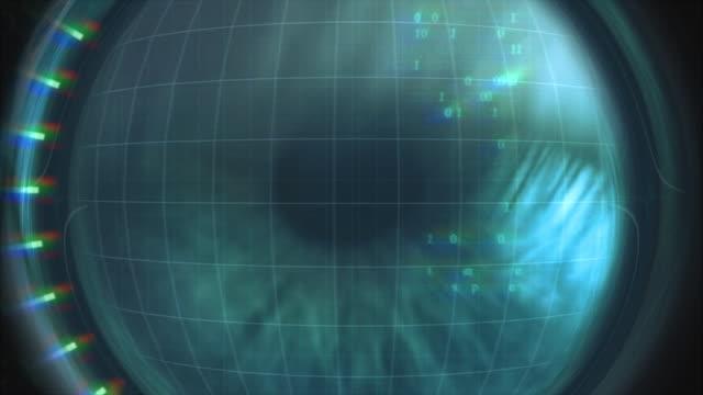 vidéos et rushes de biométrie par l'oeil-accès refusé. haute définition - rétine