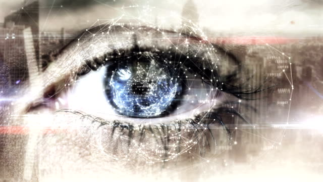Eye scanning a futuristic interface video