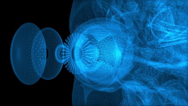 vidéos et rushes de rotation de la structure avec réticulation numérique bleue - l'oeil près de - rétine
