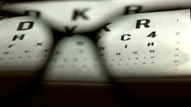 Eye test and eyeglasses Eye test in background and eyeglasses in front eye chart stock videos & royalty-free footage