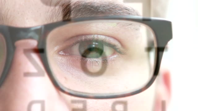 Eye test chart. Young man wearing spectacles looking at an opticians eye chart. Close-up. eye exam stock videos & royalty-free footage