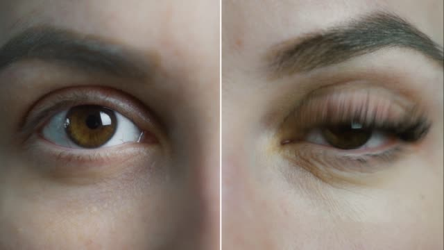 vídeos de stock e filmes b-roll de eyelash extension. comparison of female eyes before and after. split screen video. 4k - cílio