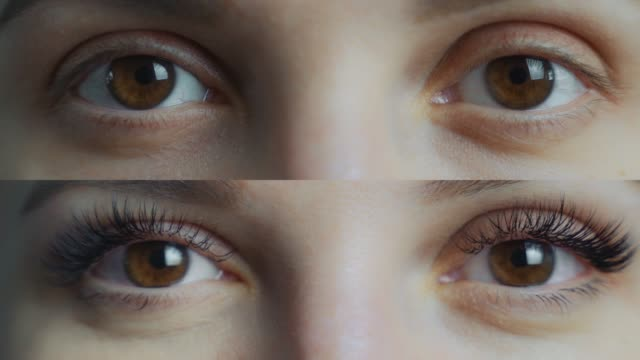 Eyelash Extension. Comparison of female eyes before and after. split screen video. 4k Comparison of female eyes before and after eyelash extension eyelash stock videos & royalty-free footage