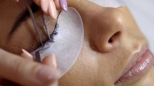 Eyelash extension in beauty salon video