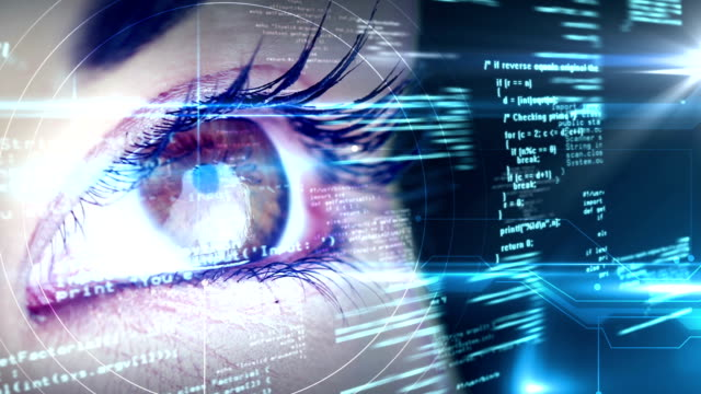 Eyes looking at holographic interface video
