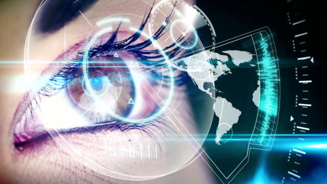 Eyes looking at holographic interface with map video