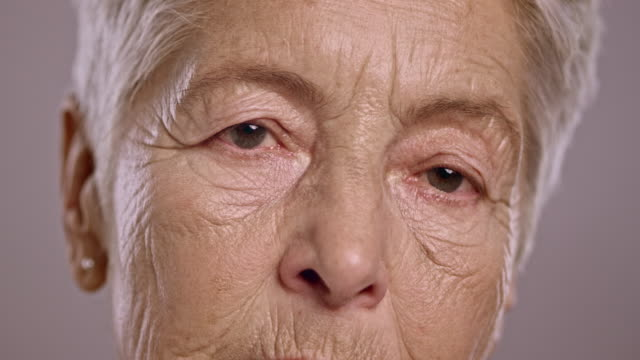 Eyes of a sad senior Caucasian woman video