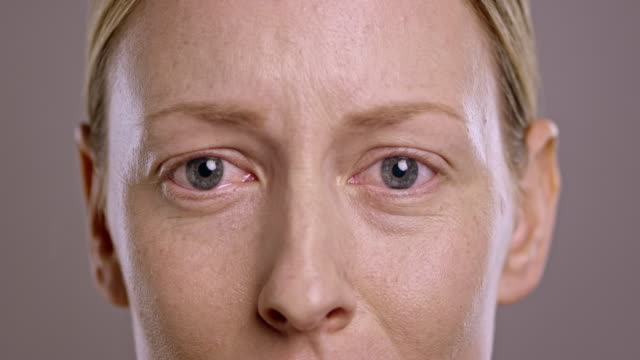 Eyes of a sad young Caucasian woman video