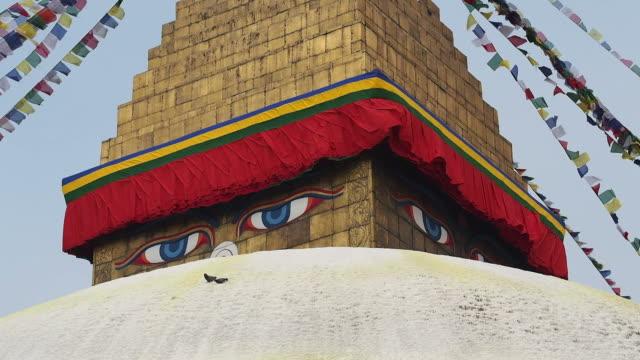 Eyes of Buddha on Boudhanath Stupa, Kathmandu, Nepal video