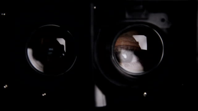 Eyes trough virtual reality glasses video