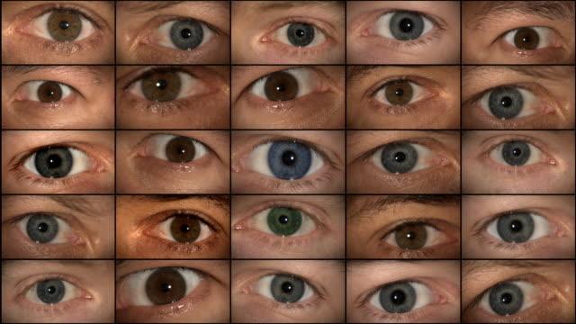 Eyes watching (HD 1080) Selected Takes - Shot on Panasonic HVX 200 / HPX 171 mosaic stock videos & royalty-free footage