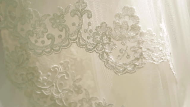 fabric as backfround. wedding veil of the bride in white color of chiffon. selective focus - wedding fashion stock videos and b-roll footage