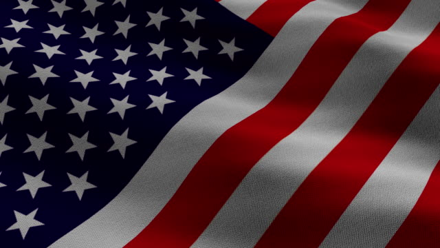 Fabric Patterned and Animated US Flag waving video