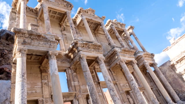 Facade of ancient Celsius Library in Ephesus Timelapse, Turkey video