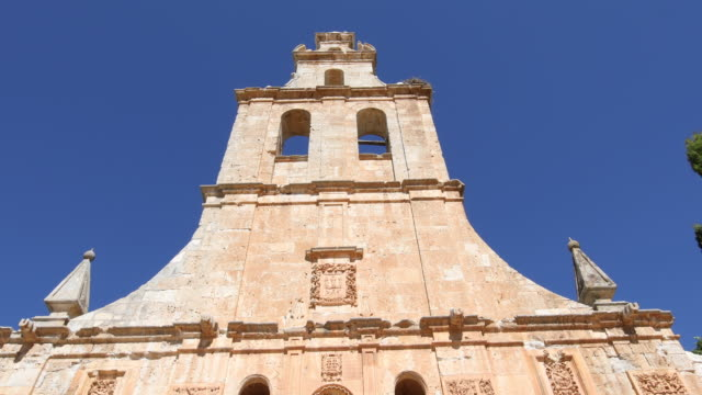 facade of convent in Ayllon from belfry to door video