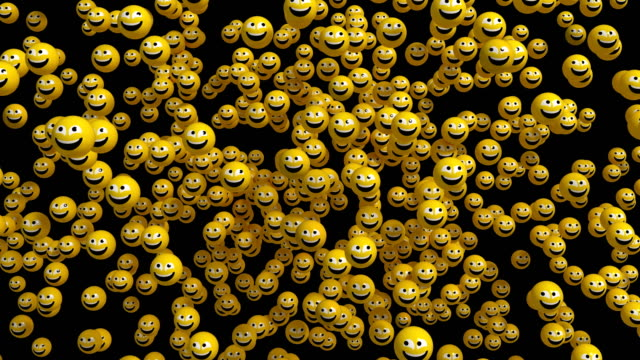 4k. 3d face icon explosion. emoji appear with frightened faces, look around, calm down and smile. alpha matte. - emoji video stock e b–roll
