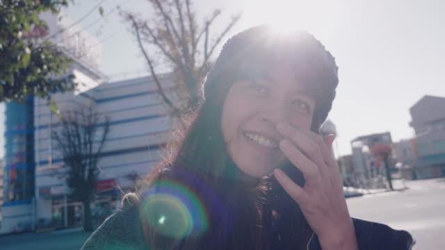 アジアの女性の笑顔の顔 ビデオ