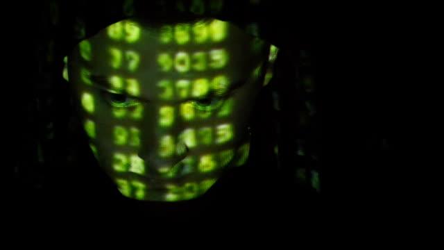 男性の顔のハッカーフードに取り組んでいるコンピューターをグリーンコードを反映している顔文字の上にダークなオフィスルームがございます。ソースコード凸形を攻撃、怒っている男性の顔、黒の背景ます。 ビデオ