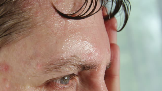 Face of very sweating man video