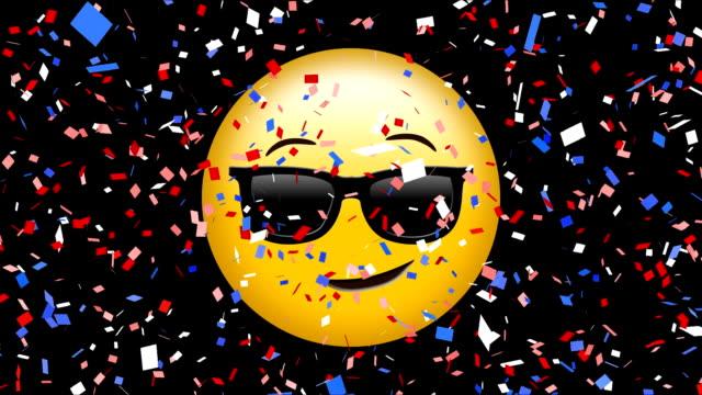 viso con occhiali da sole emoji - rappresentazione umana video stock e b–roll