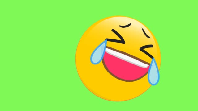 face with tears of joy emoji - lingua bocca video stock e b–roll