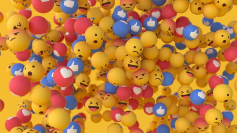 'Facebook' Emoji Balls - Floating #1 Fun, bright and engaging videos of 'Facebook' emoji balls gently swirling and floating around. High quality 3D animation. Ideal for presentations, conferences, social media content and more! Alpha channel included. enjoyment stock videos & royalty-free footage