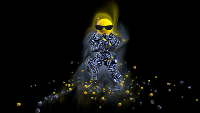 Facebook Icon Dancing Character surrounded by colorful lights, against black video