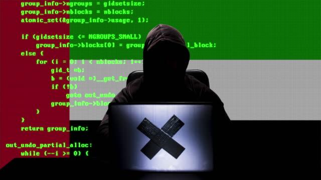 faceless uae hacker typing code hacking on his laptop with united arab emirates flag in background - uae flag filmów i materiałów b-roll