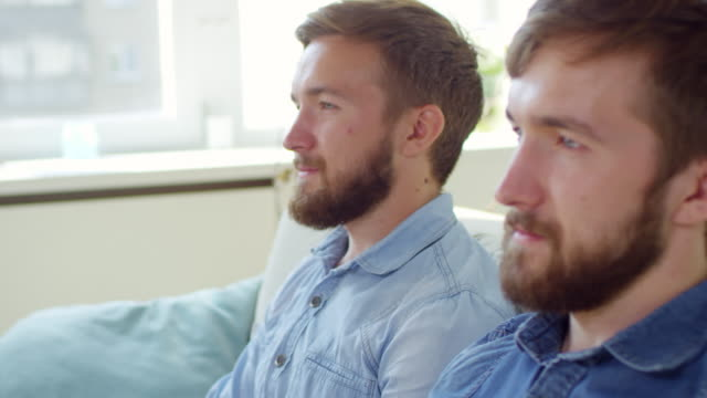 faces of two bearded twin brothers - gemelle video stock e b–roll