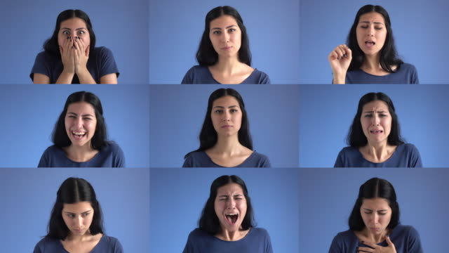 Facial expression compilation of adult woman on blue background video