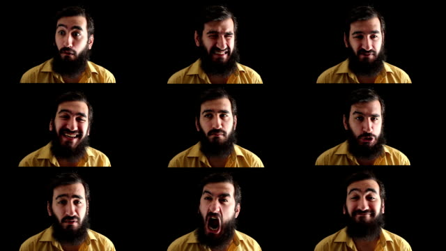 Facial expressions montage of old man with beard, black background video