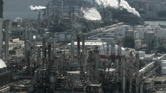 Factory and smoke air pollution in Industry district