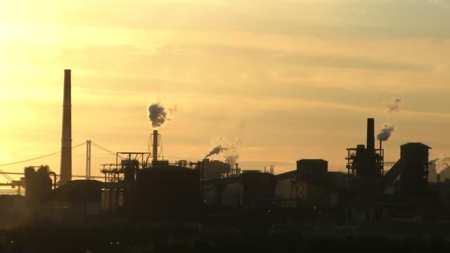 HD, NTSC: Factory at sunset (video) video